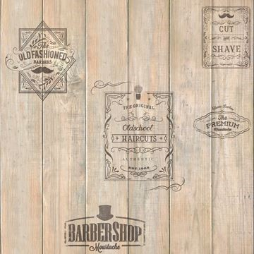 Behang hout barbershop Dutch Home