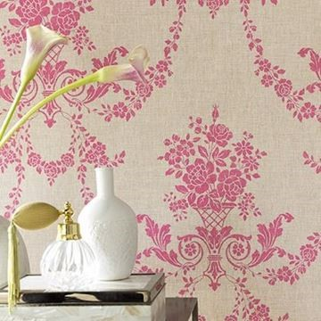 behang beige-roze medaillon