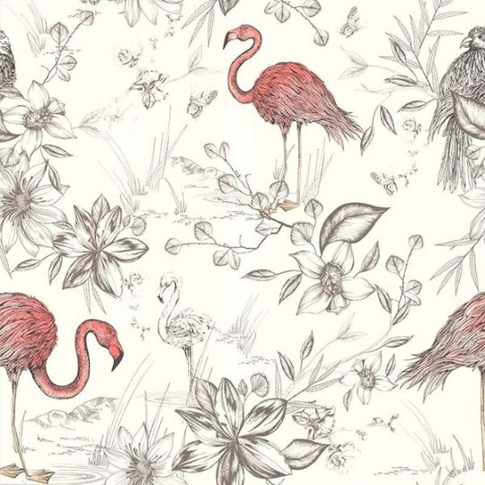 behang flamingo zalmroze retro vintage Lutèce