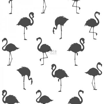 Esta Jungle Fever flamingo behang zwart wit 138993