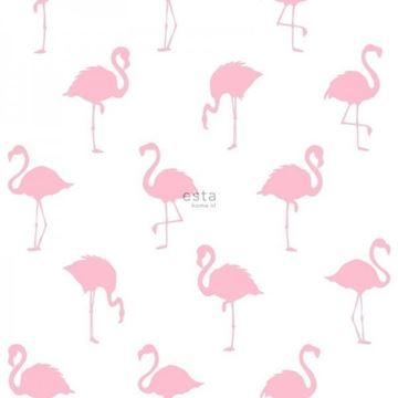 Esta Jungle Fever flamingo behang roze wit 138992