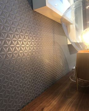 Dutch Wallcoverings Hexagone 3d behang grijs detail