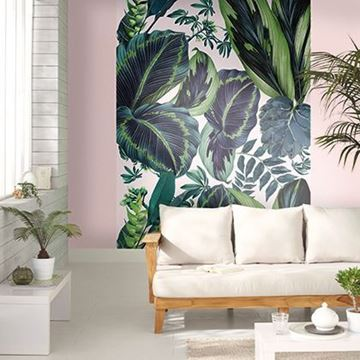Caselio Jungle fotobehang The pink Jungle 10019 7812 in woonkamer