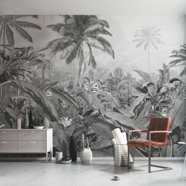 Fotobehang Komar Amazonia black and white in stoere woonkamer